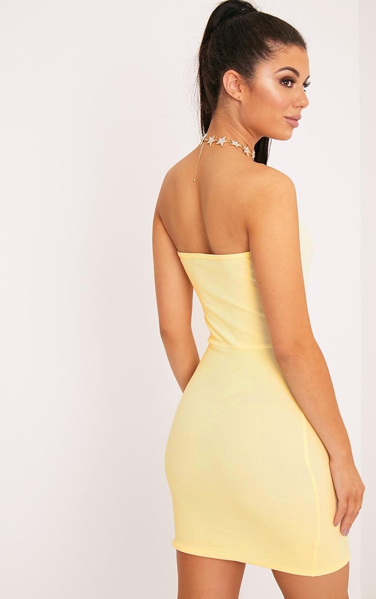 Layala Lemon Split Detail Bandeau Bodycon Dress 2