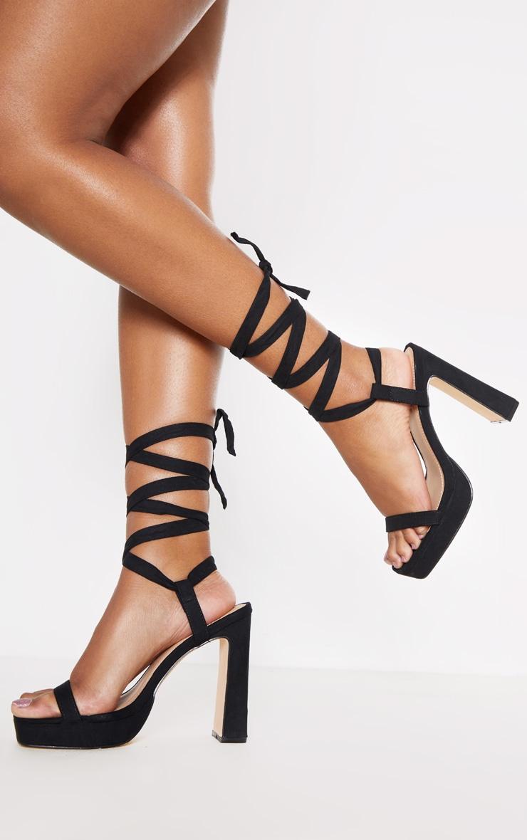 Black Ankle Lace Up High Platform Sandal 1