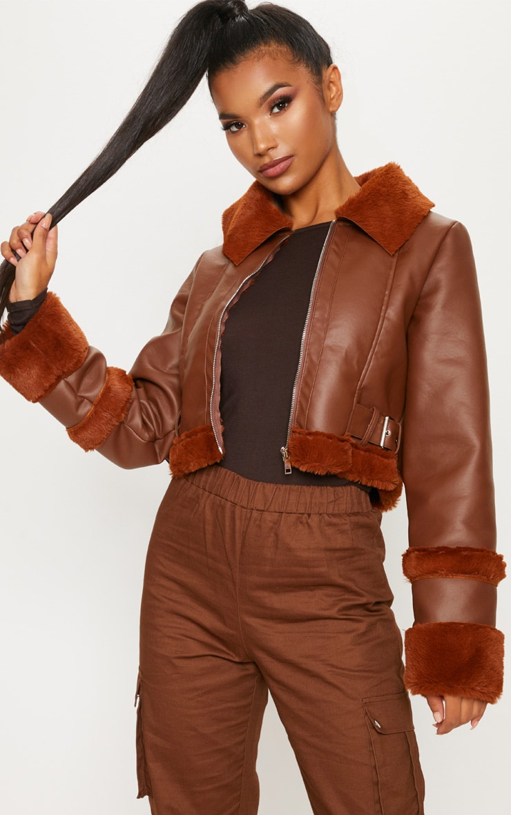 Tan  Faux Fur Trim Cropped Aviator  1