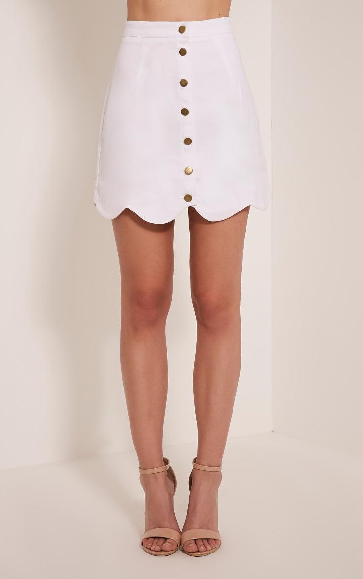 Leigha White Scallop Hem Denim Mini Skirt 2