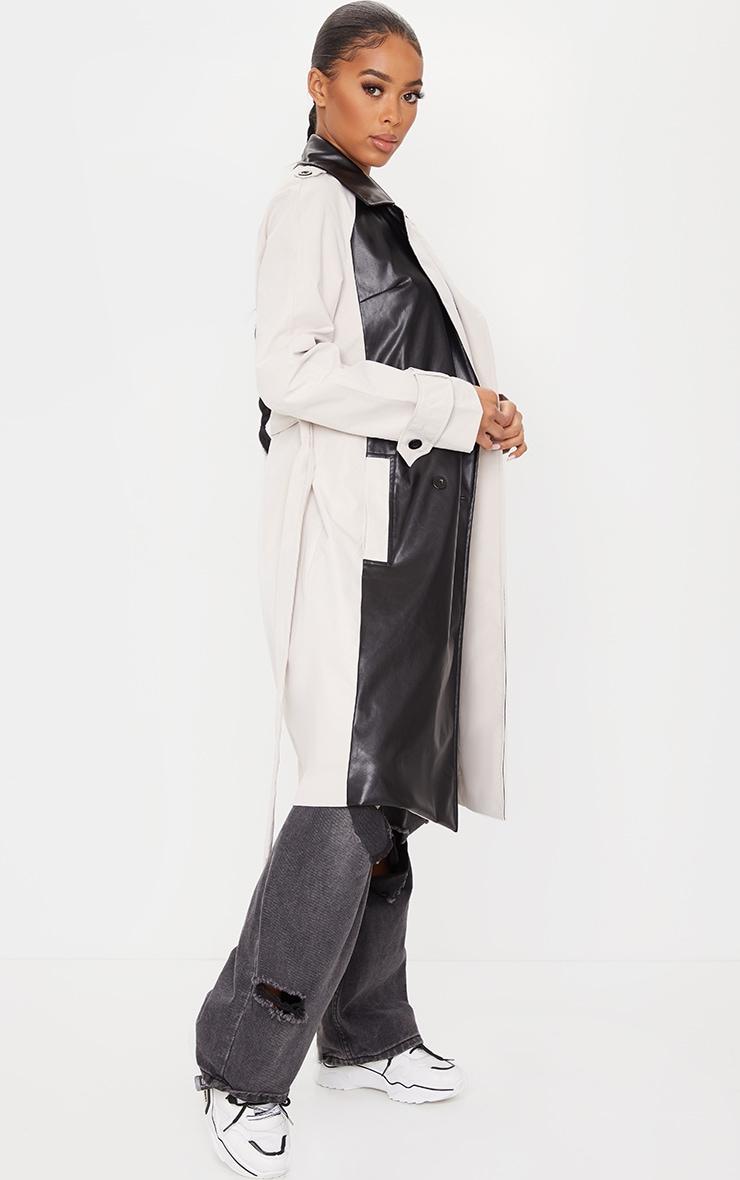 Black Pu Panel Trench Coat 4