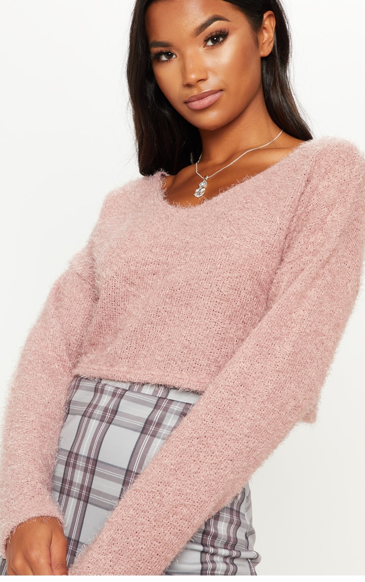 Pink Cropped Oversized Eyelash Sweater  5