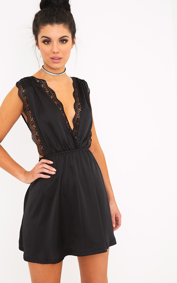 Tatiana Black Satin Lace Trim Plunge Swing Dress Pretty Little Thing