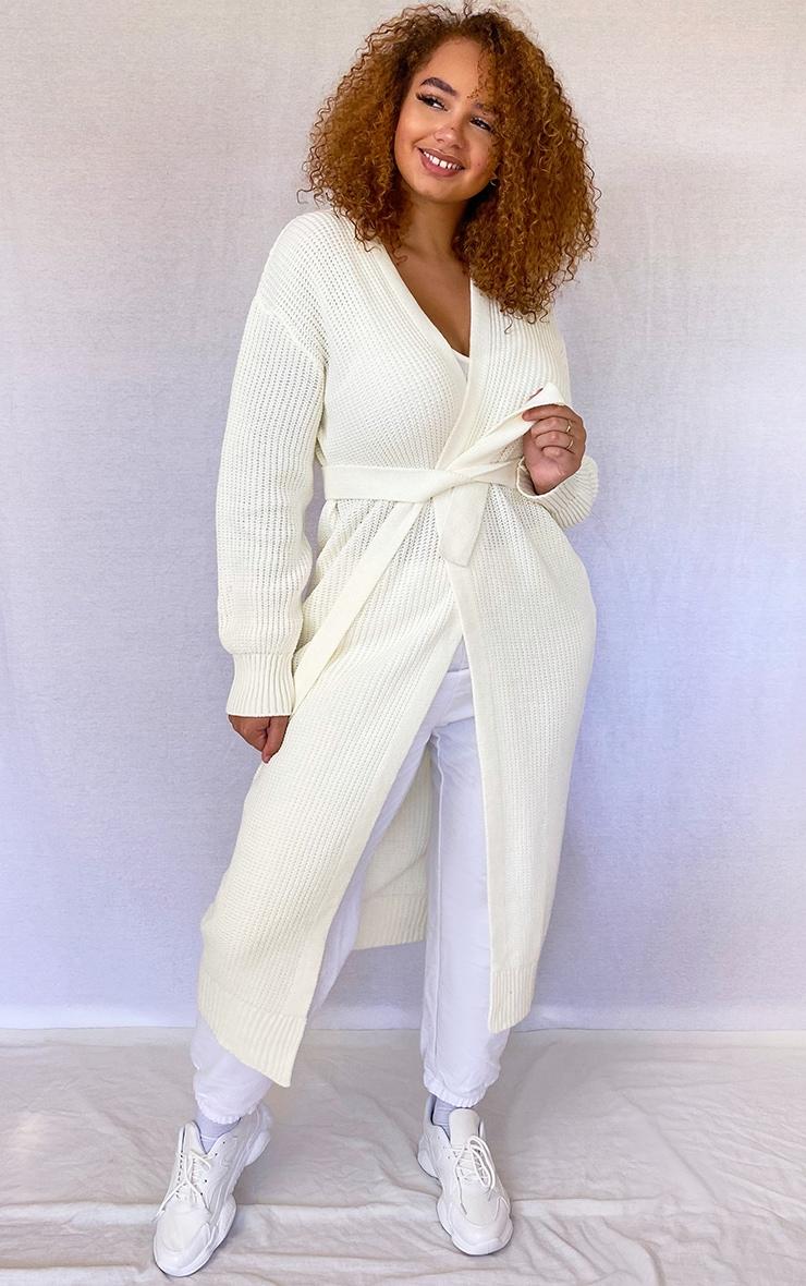 Plus Cream Maxi Knitted Cardigan 3