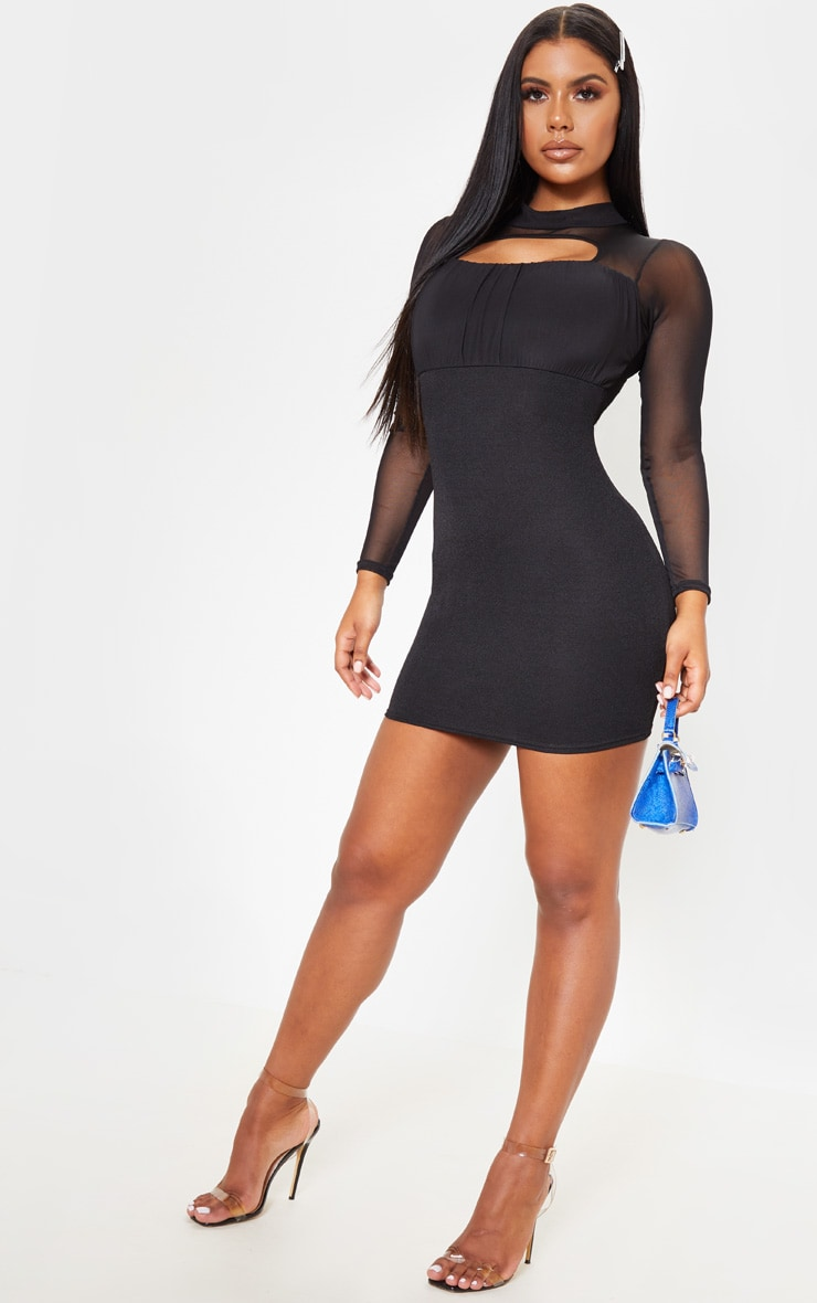 Black Mesh Sleeve Ruched Bust Detail Cut Out Bodycon Dress 4