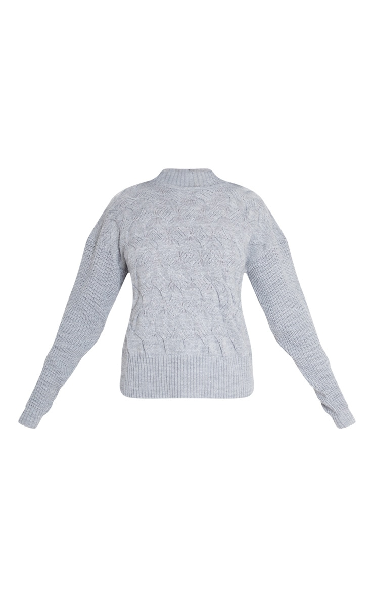 Light Grey Roll Neck Twisted Cable Front Jumper 3