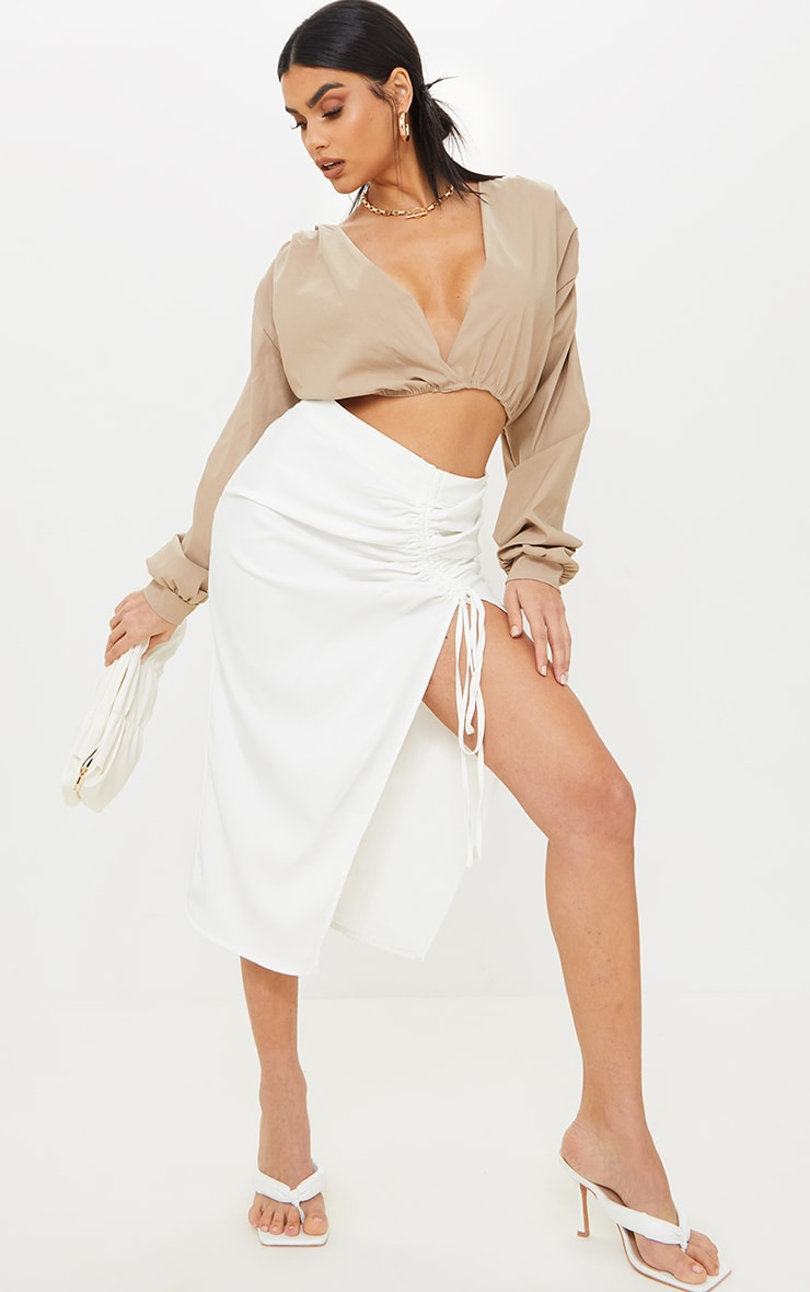 Nude Woven Plunge Long Sleeve Cropped Blouse 3