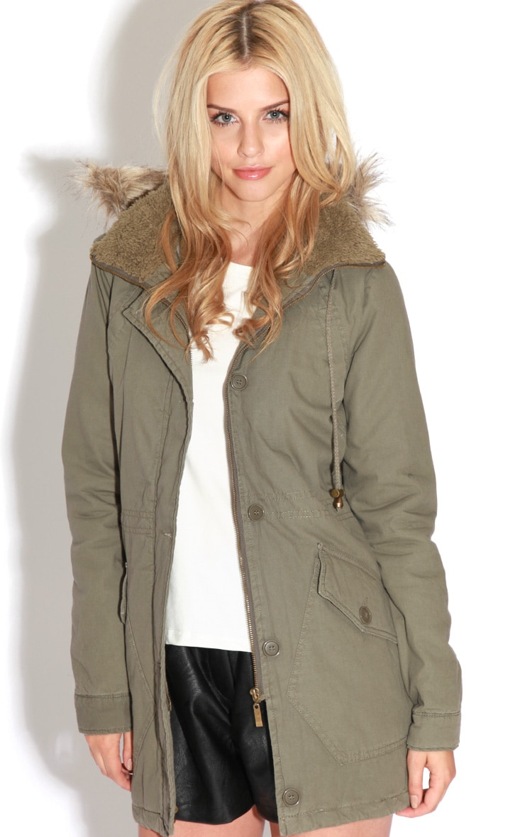 Jameel Khaki Coat With Grey Fur Lined Hood 5
