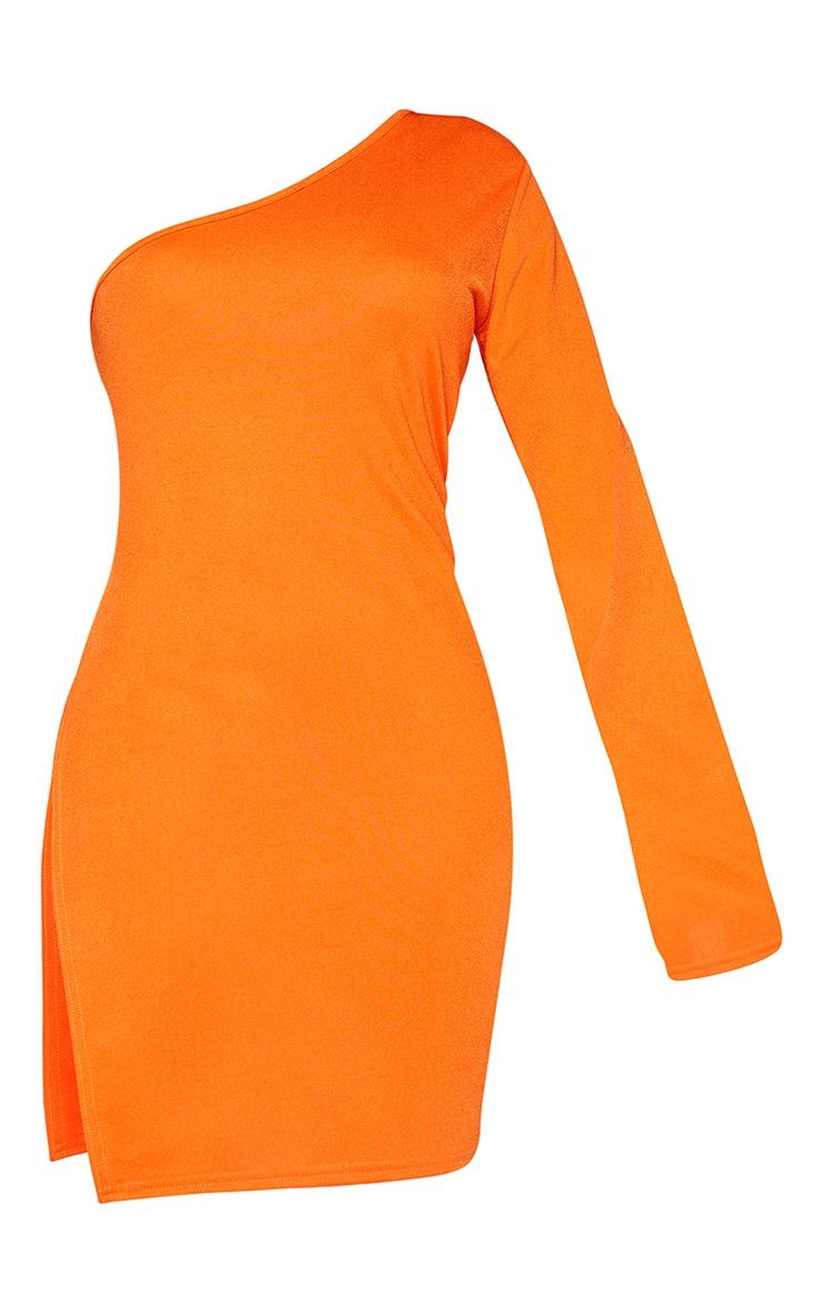 Shape Orange One Shoulder Split Bodycon Dress 5