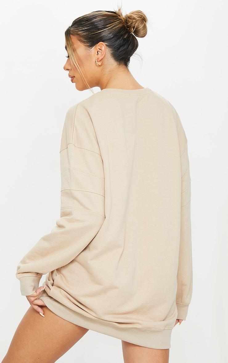 PRETTYLITTLETHING Stone Slogan Contrast Panel Detail Sweater Dress 2