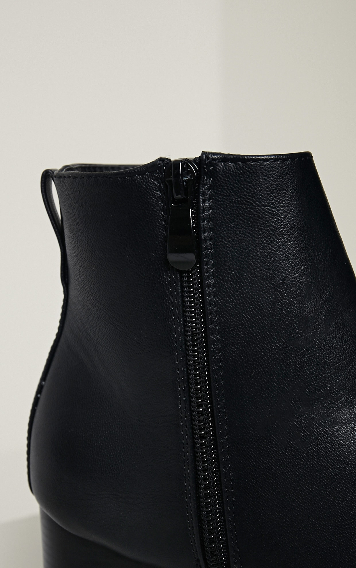 Elana Black Faux Leather Heeled Ankle Boots 7
