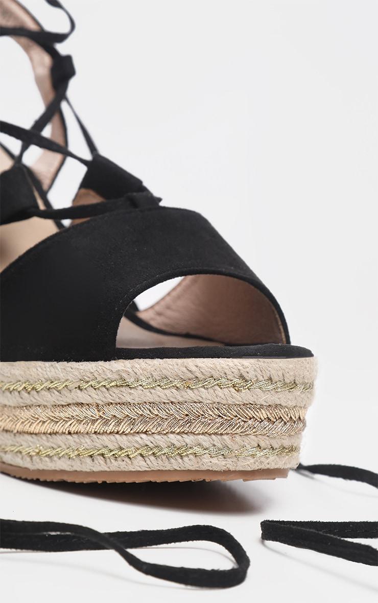 Black Ghillie Lace Up Espadrille Wedge Sandal 4