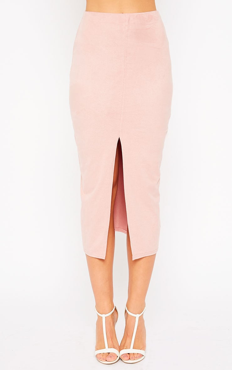 Riley Pink Suede Midi Skirt 2