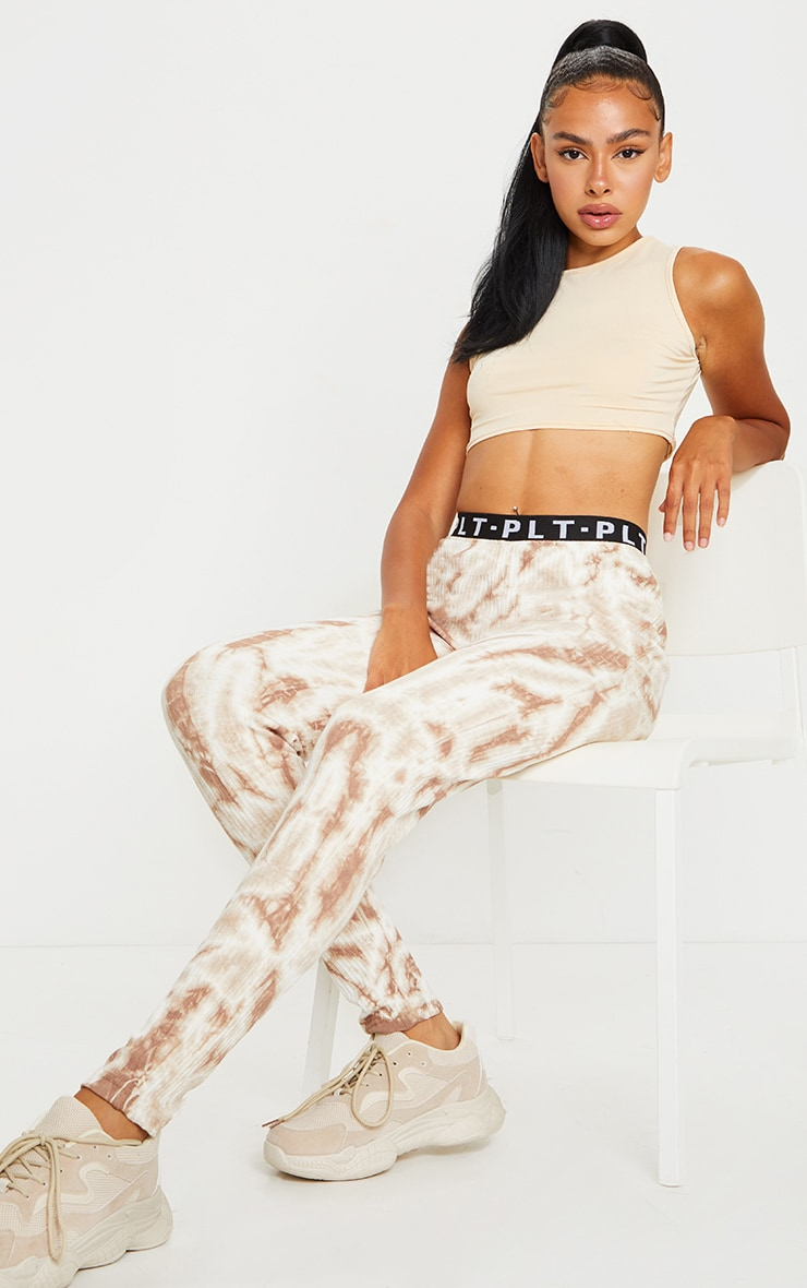 PRETTYLITTLETHING Stone Ribbed Tie Dye Joggers 1