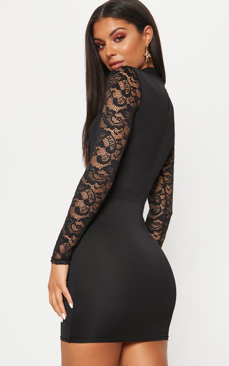 Black Lace Insert Long Sleeve Bodycon Dress 2