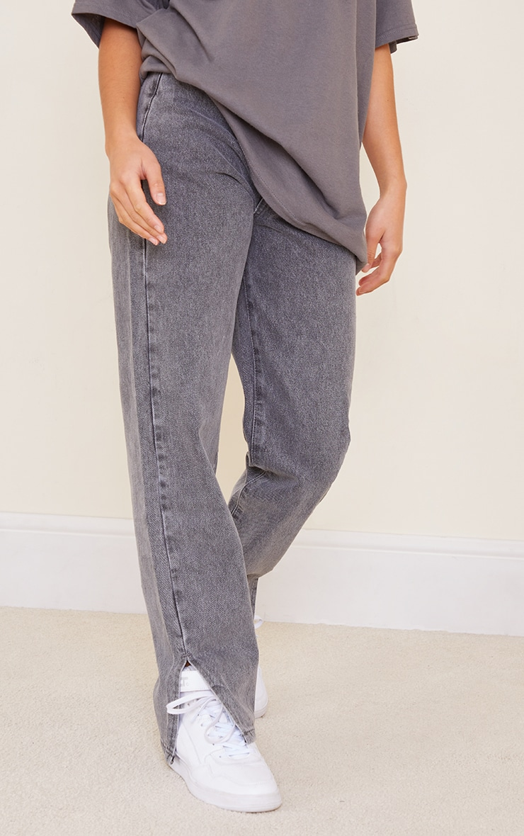 Petite Grey Wash Split Hem Jeans 2