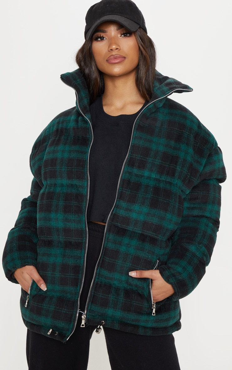 Green Oversized Checked Puffer 1