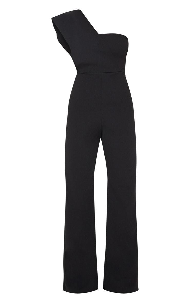 Petite Black Drape One Shoulder Jumpsuit 3
