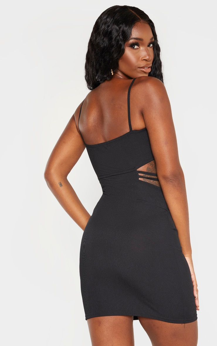 Black Ribbed Strappy Cut Out Detail Bodycon Dress 2
