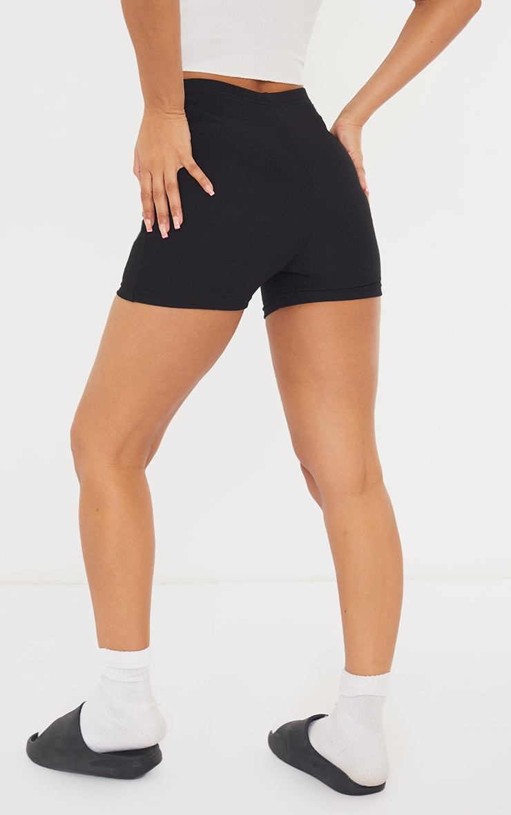 Black Power Stretch Rib Hotpants 3