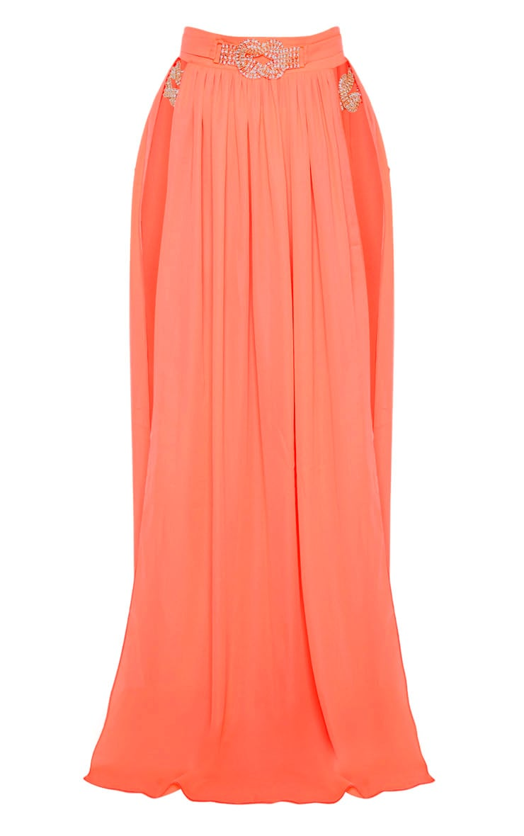 Coral Chiffon Diamante Jewel Beach Skirt 3