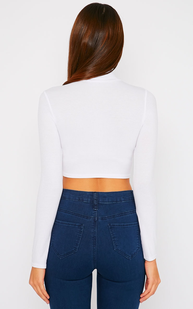 Basic White Ribbed High Neck Crop Top 2