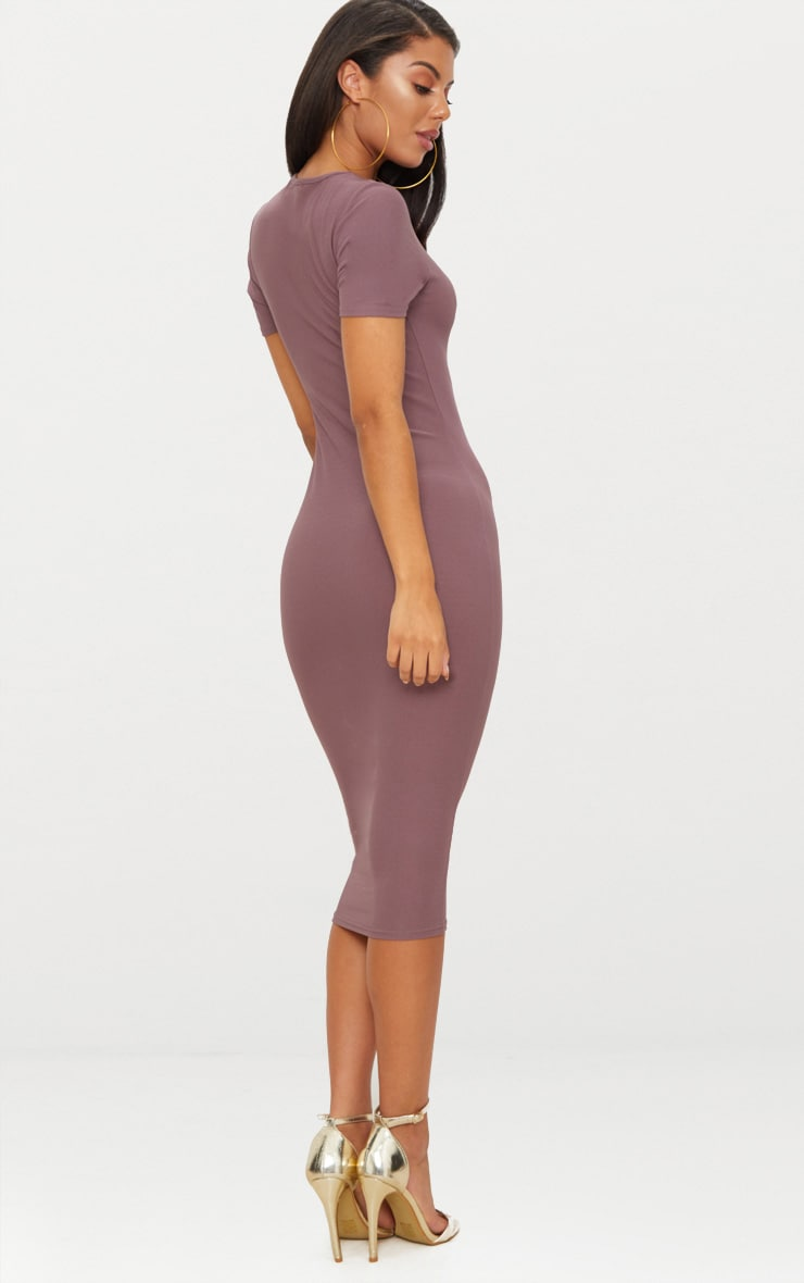 Dark Mauve Cap Sleeve Midi Dress  2
