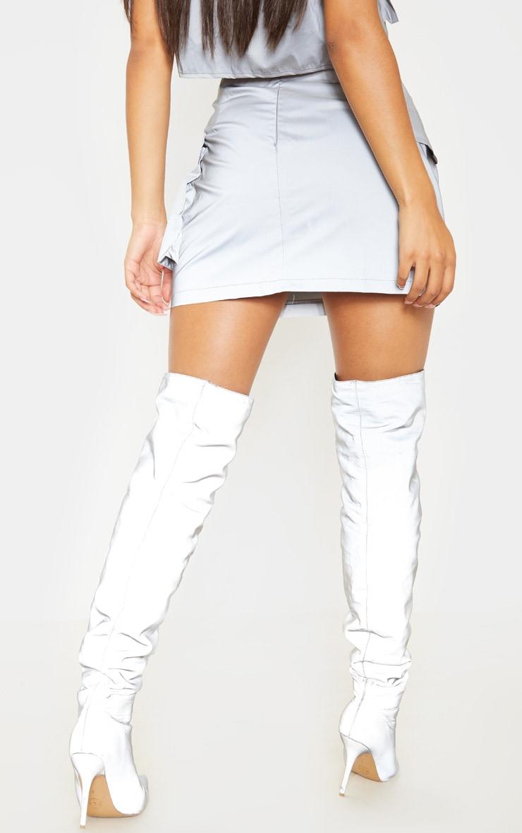 Grey Pocket Detail Reflective Bodycon Skirt 4