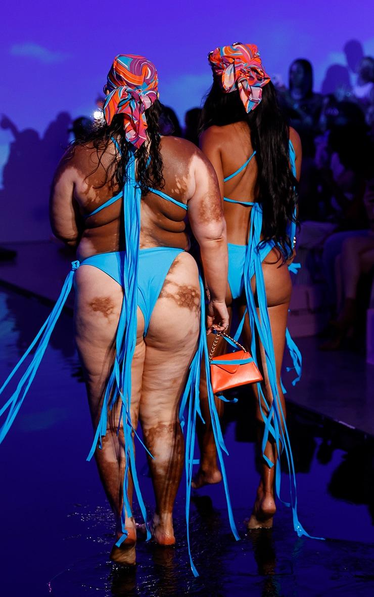 Blue Mini Tassel Tie Bikini Top 2
