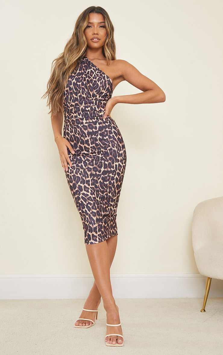 Tan Leopard Print One Shoulder Ruched Detail Midi Dress 1