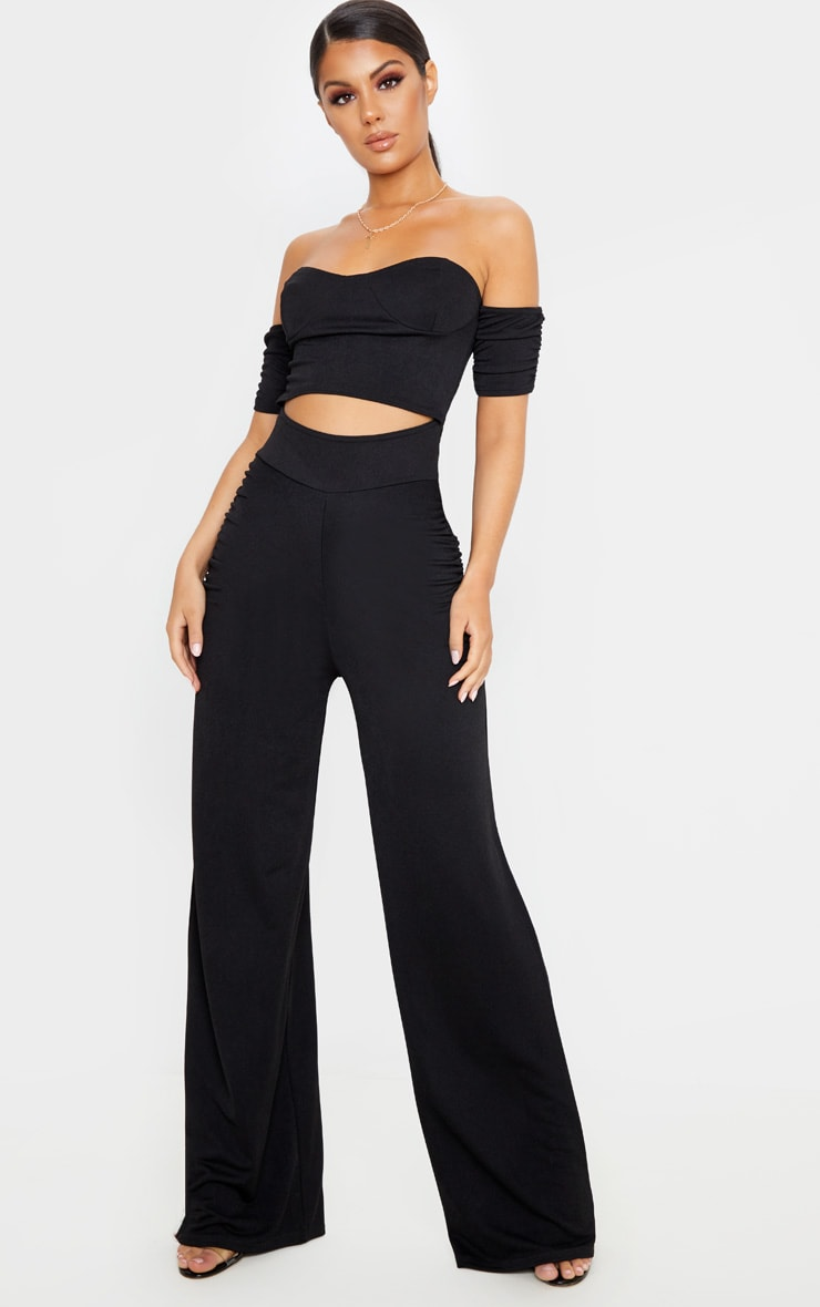 Black Cup Detail Ruched Pant Jumpsuit 4
