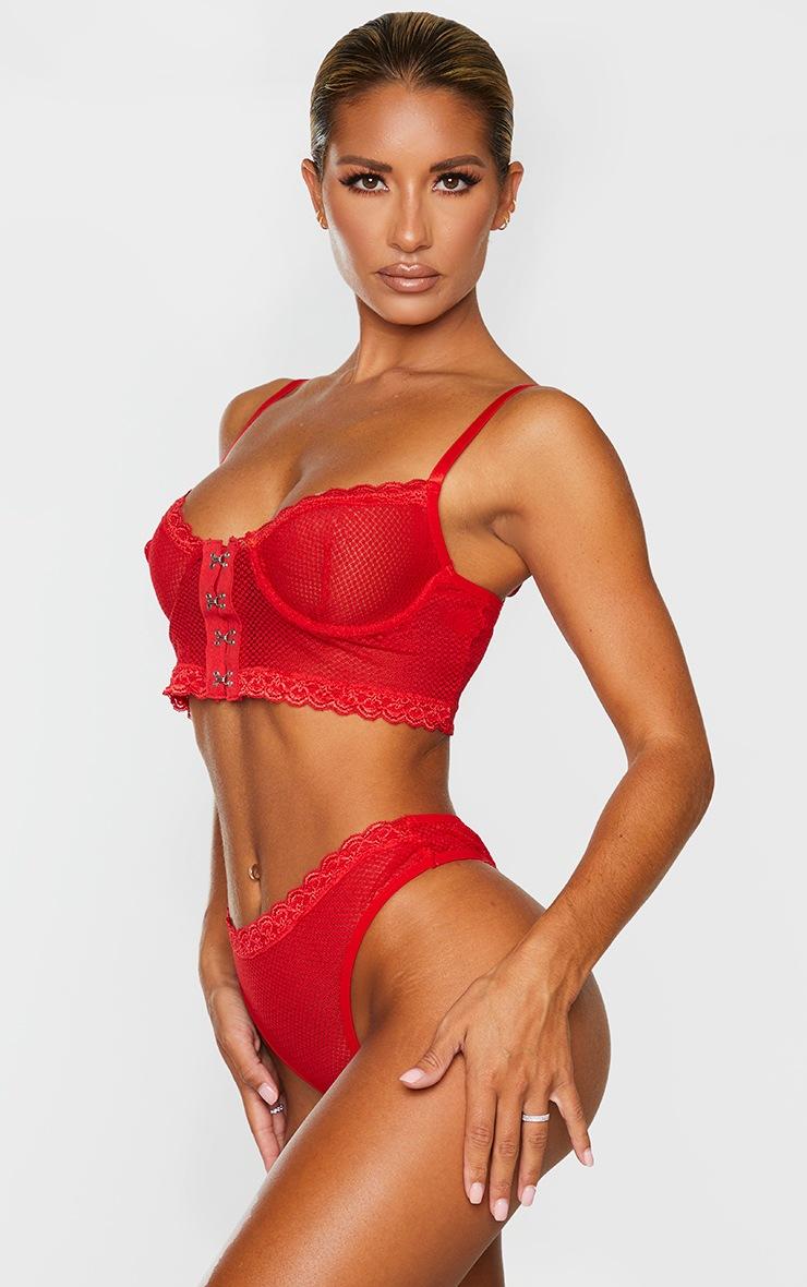 Red Mesh Lace Trim Thong 2