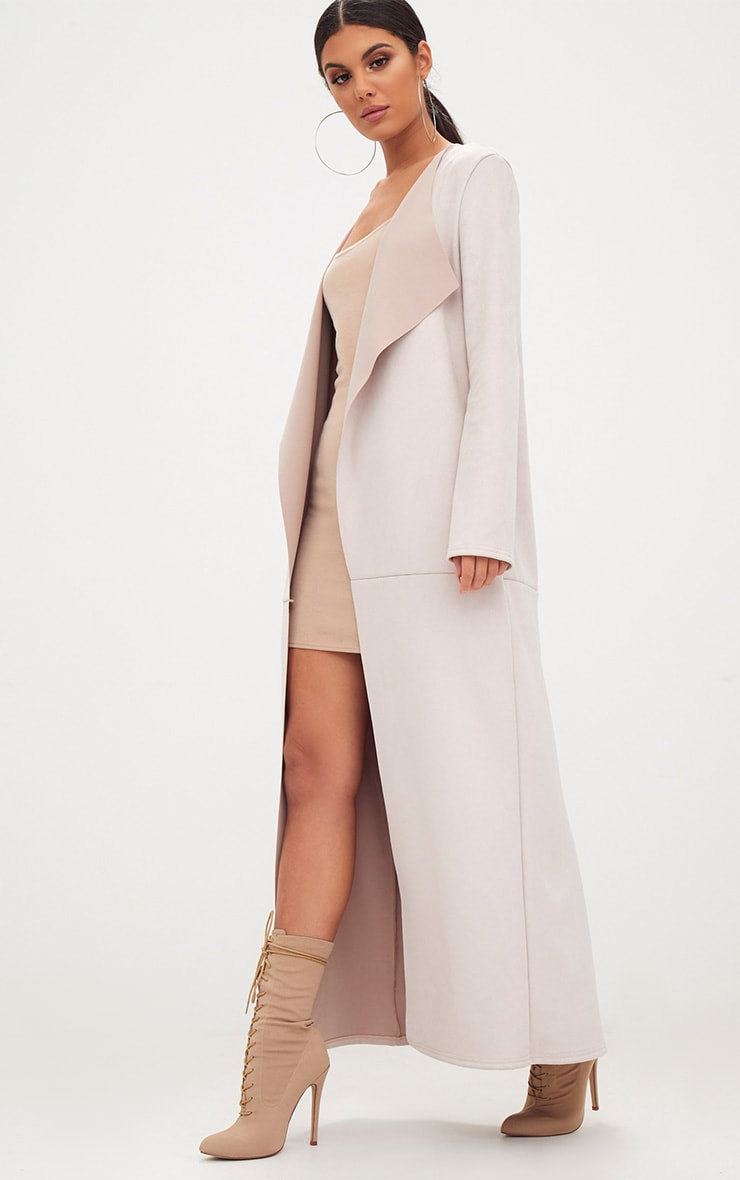 Beige Faux Suede Maxi Waterfall Coat 4