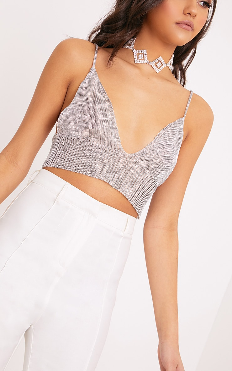 bb490539dc Natashie Sheer Silver Metallic Knitted Bralet