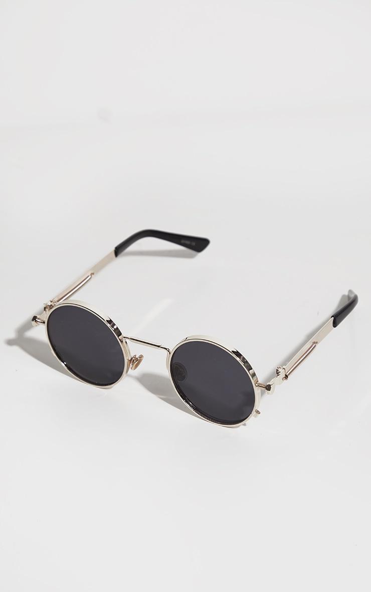 Gold Frame Round Sunglasses 2