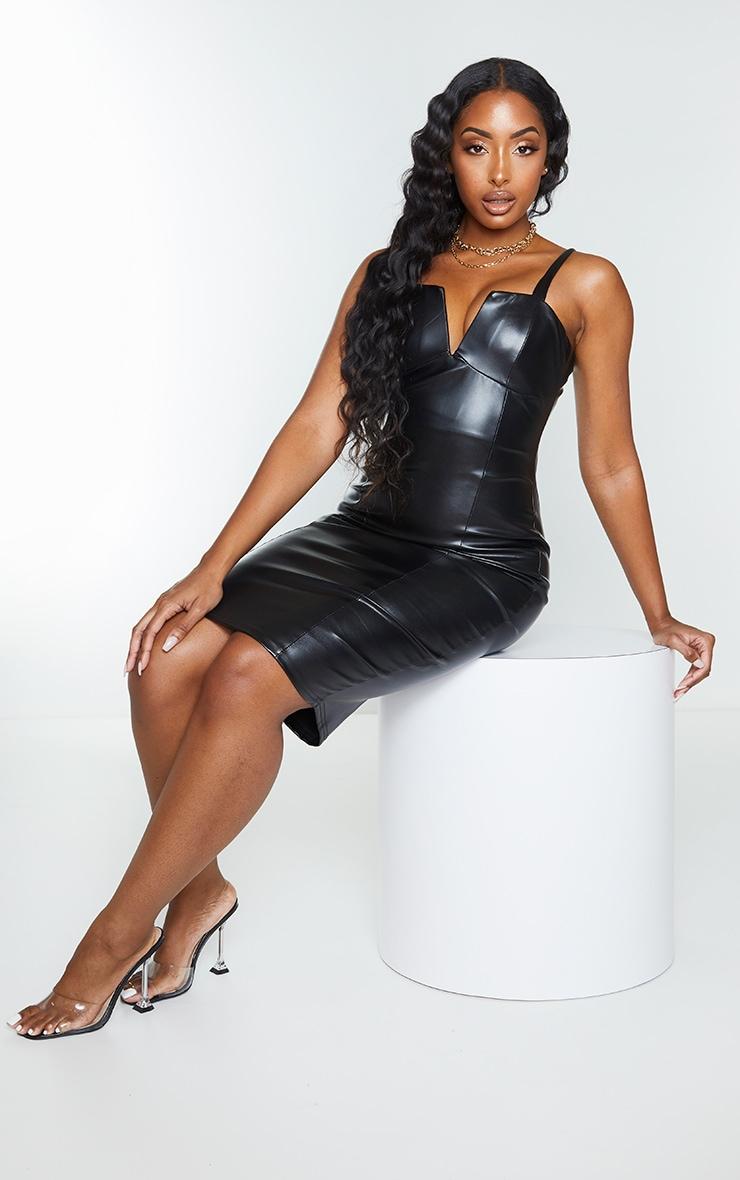 Black Faux Leather V Plunge Sleeveless Midi Dress 3