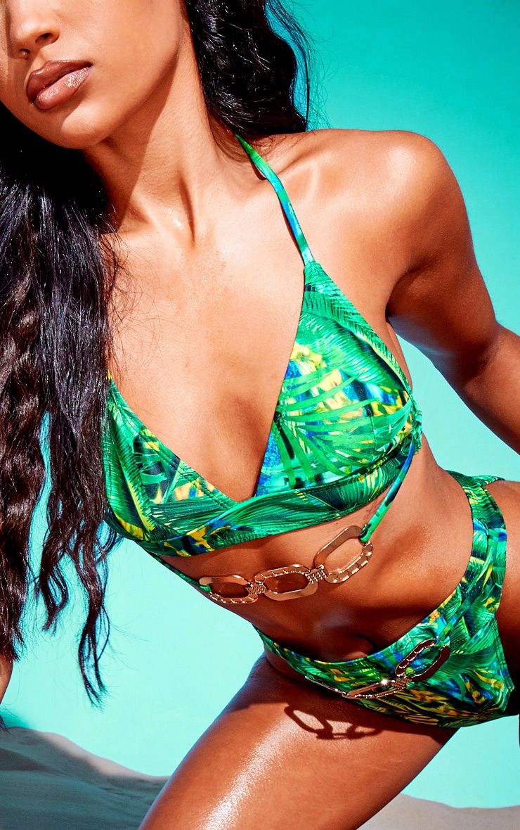 Green Tropical Gold Trim Triangle Bikini Top 4