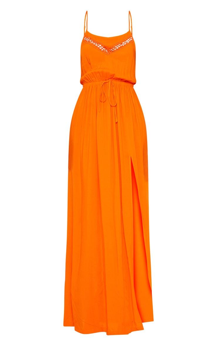 Orange Lace Trim Tie Detail Maxi Dress 3