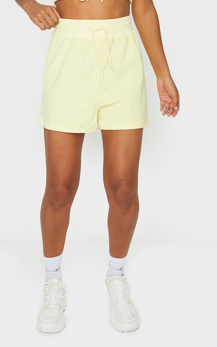 Yellow Towelling Tie High Waist Shorts 2