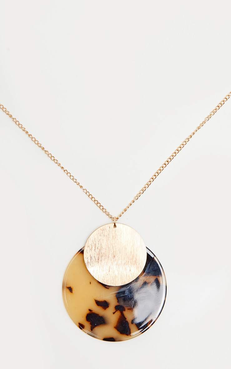 Brown Tortoiseshell Resin and Gold Disc Necklace 3
