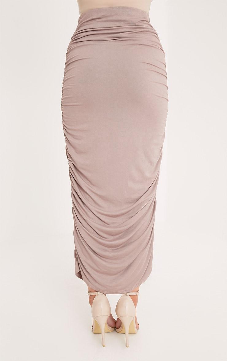 Taupe Second Skin Ruched Midaxi Skirt 4