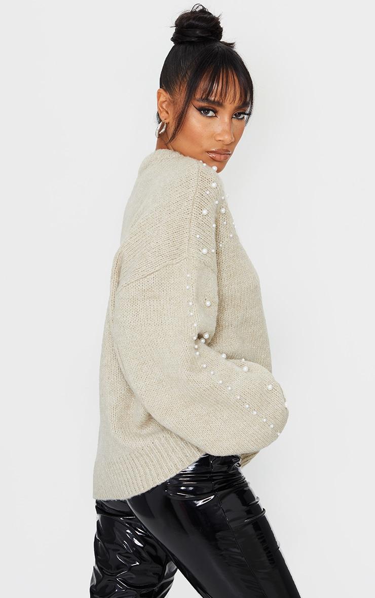 Oatmeal Embellished Sleeve Turtle Neck Sweater 2