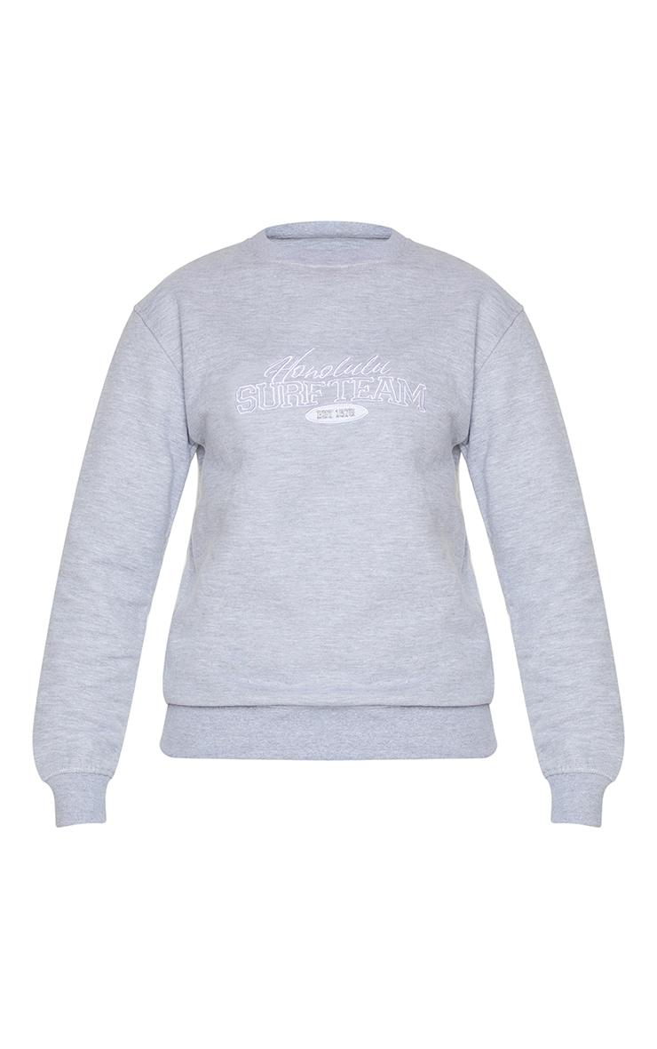 Grey Honolulu Surf Embroidered Sweatshirt 5