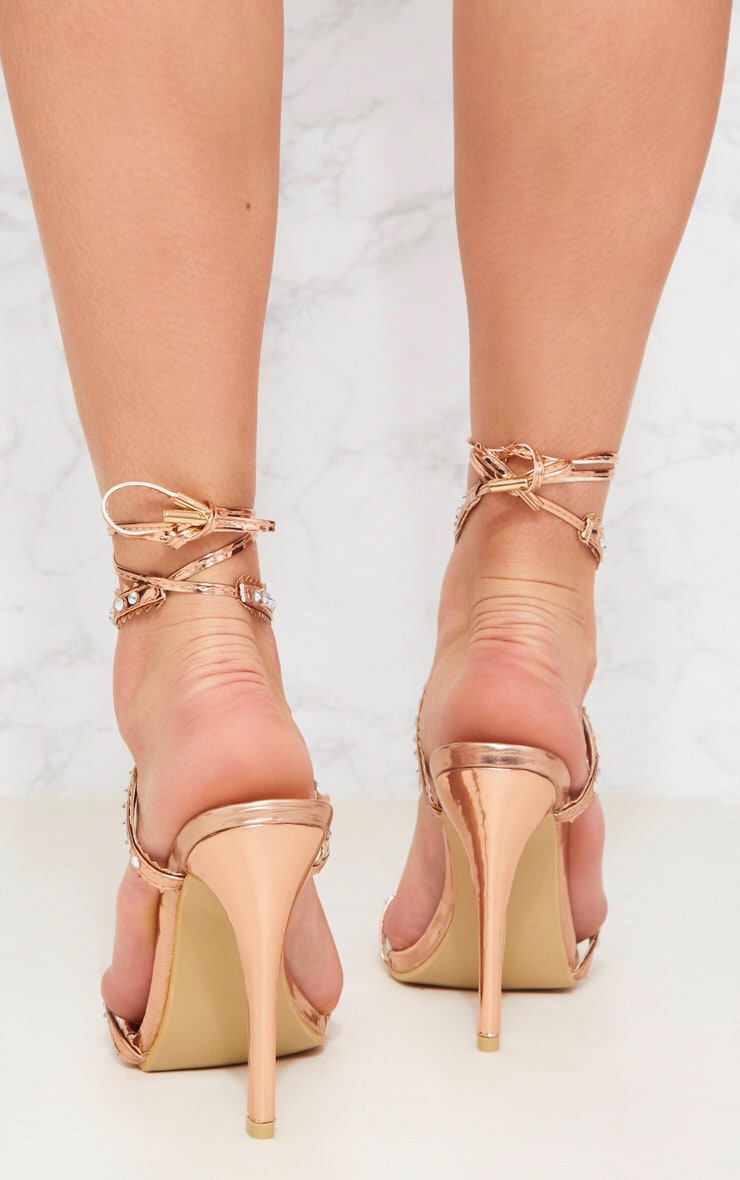 Rose Gold Diamante Cross Front Sandal 4