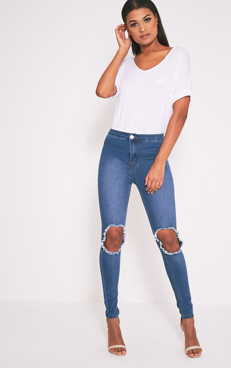 Mid Wash Open Knee Rip High Waisted Skinny Jean 1
