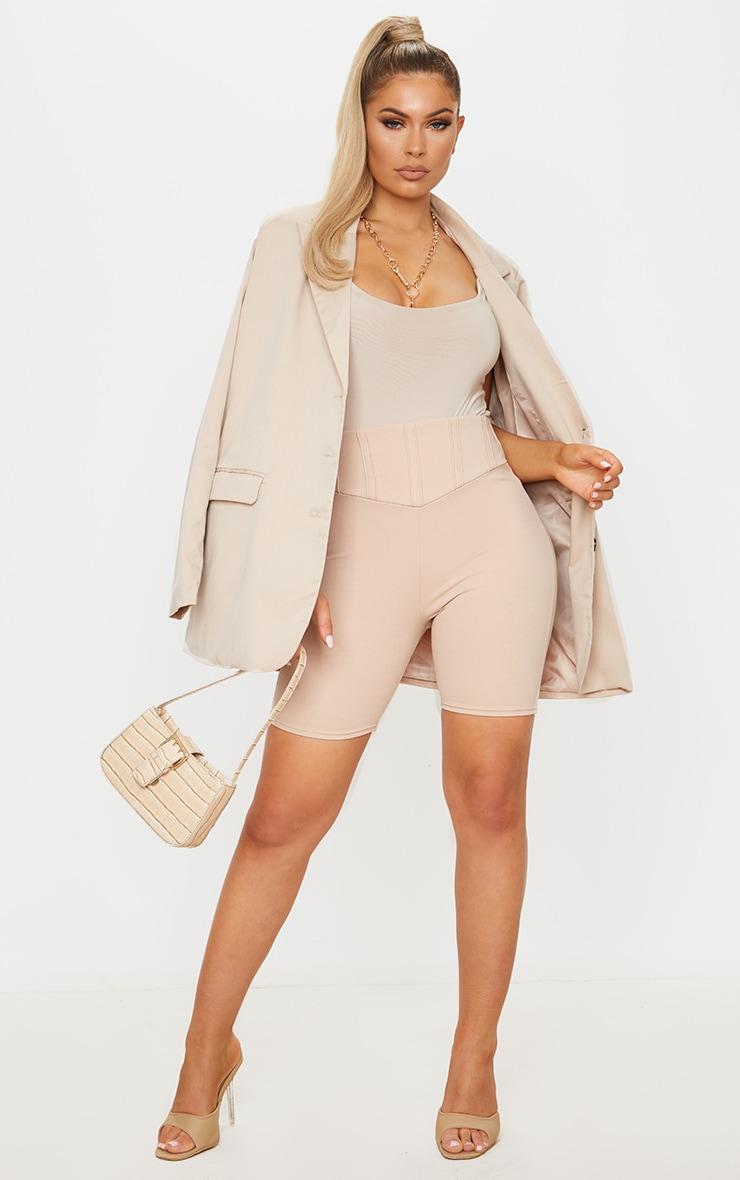 Short-legging gris pierre à détail corset 3