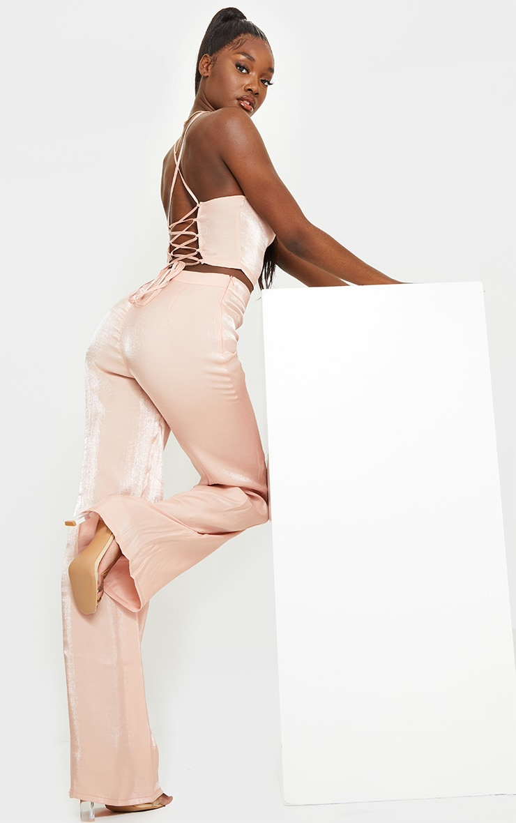 Tall Peach Strappy Tie Back Crop Top 3