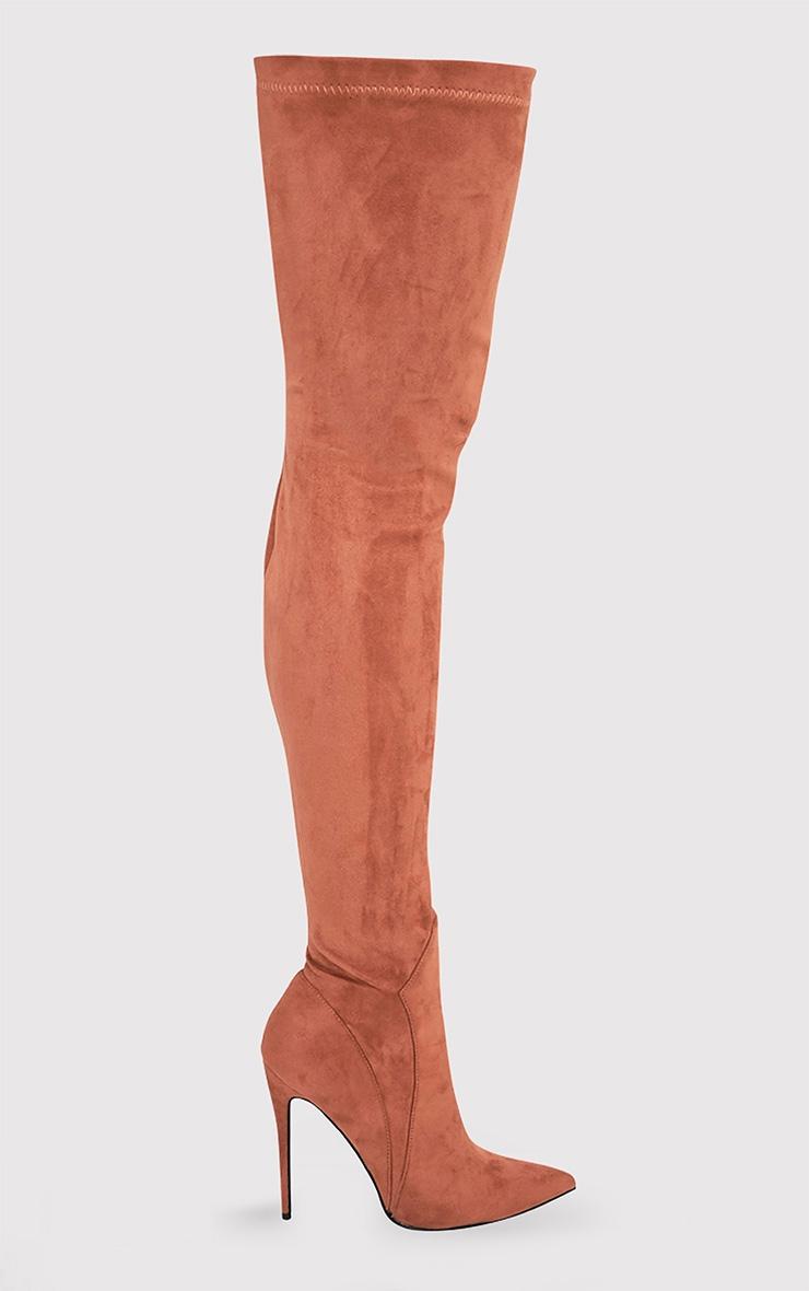 Emmie bottes cuissardes camel imitation daim à talons hauts extrêmes 3
