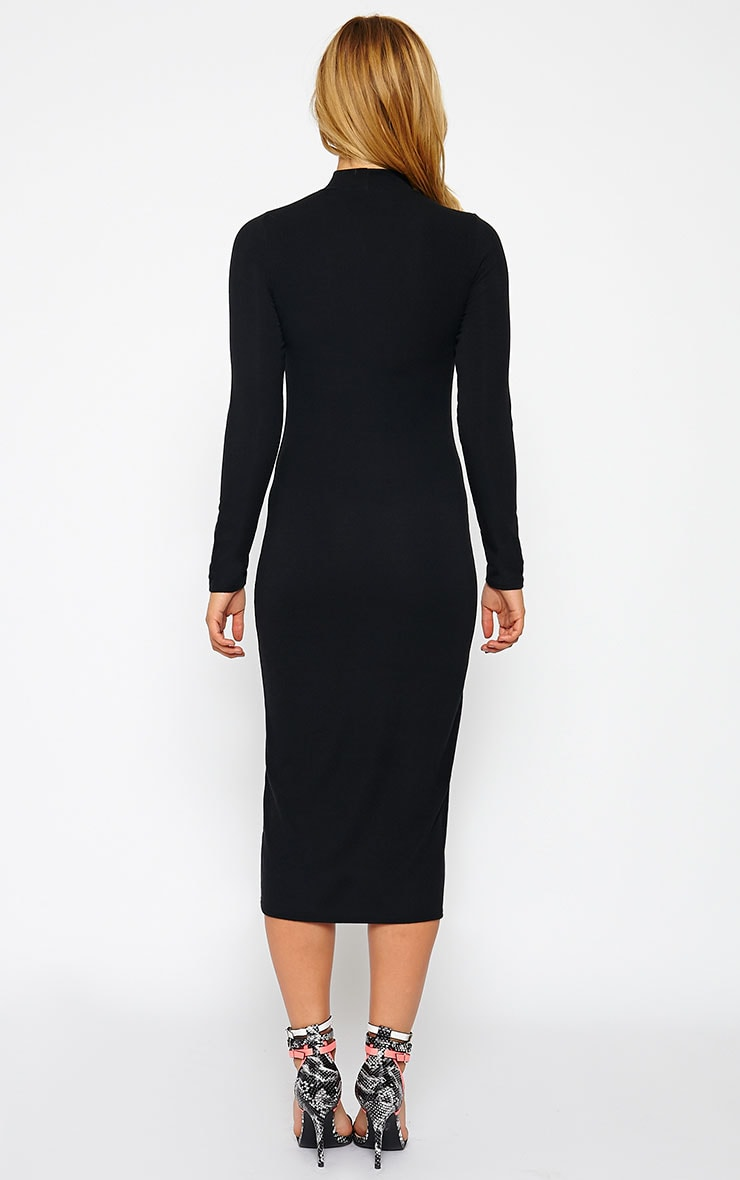 Basic Black Ribbed Turtle Neck Midi Dress 2