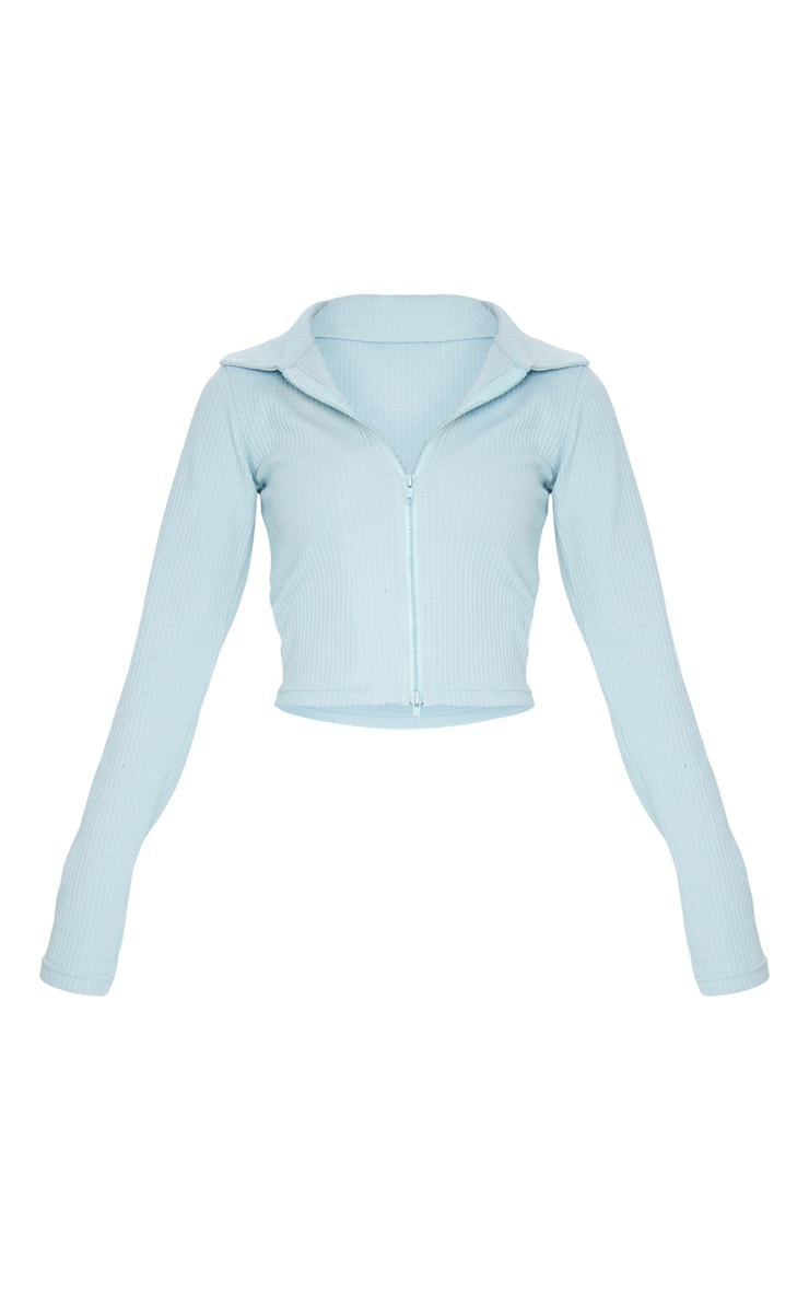 Baby Blue Jumbo Rib Collar Double Zip Top 5